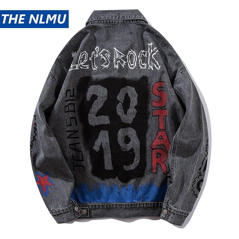 Veste en jean hommes Jeans manteau Hip Hop Graffiti imprimé veste Streetwear 2019 printemps haut d'automne pour homme HA067