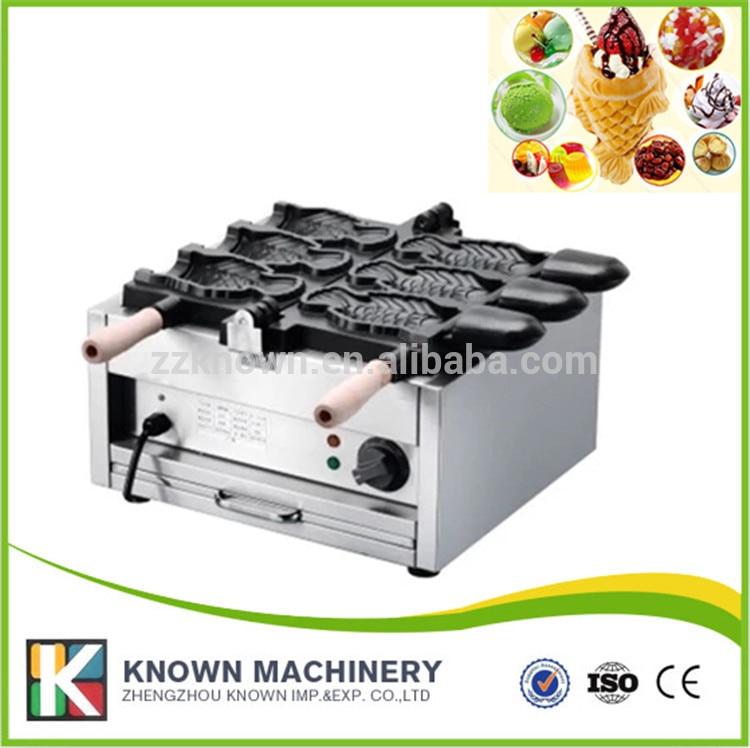 Machine commerciale de cône de crème glacée de forme de poisson machine de gaufrier machine de crème glacée de poisson