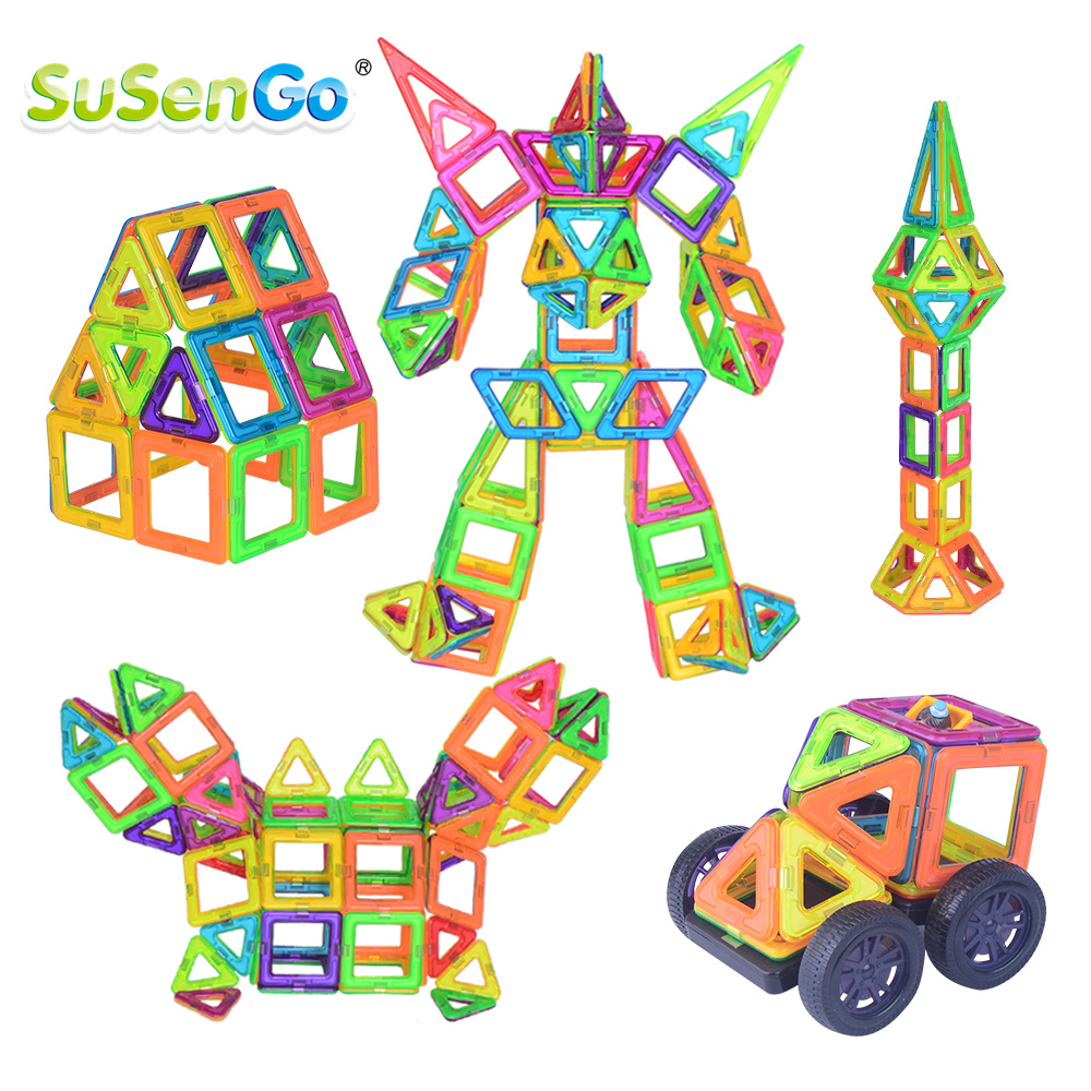 SuSenGo Big Size 68/89/102pcs Magnetic Building Blocks DIY Designer Kits With Ferris Wheel Car Model For Kids Birthday Toys Gift small car shape magnetic designer building blocks model