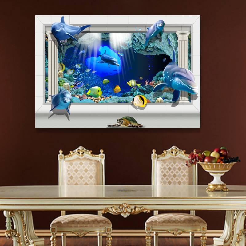 Sin marco 3D Océano Mundo de Dibujos Animados Cuadros de La Pared ...