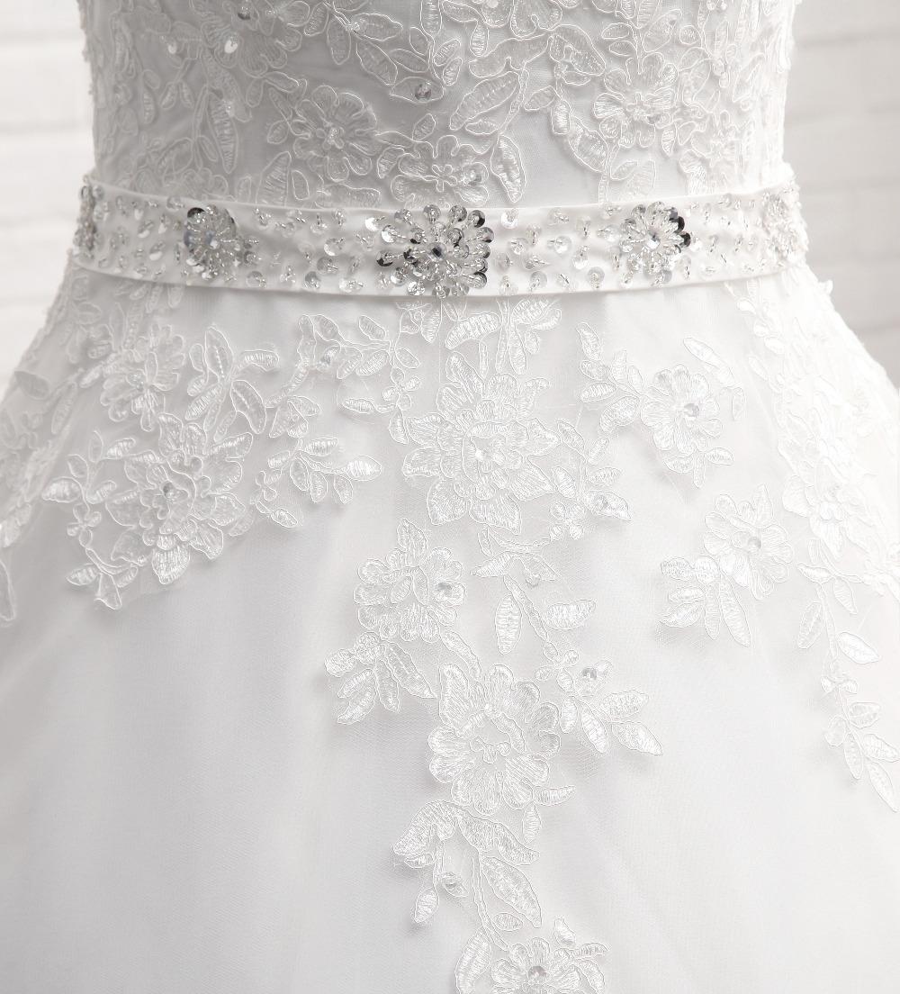 Lover Kiss Vestido De Noiva New Design A Line Lace Wedding Dress V Neck Beaded Sash Backless Sexy Vintage Gowns Wedding Dress 7
