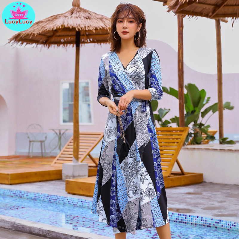2019 summer Korean version of the wrap with a one piece waist slimming French knee dress V Neck Three Quarter in Dresses from Women 39 s Clothing