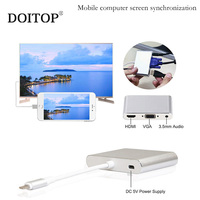 DOITOP 8 Pin to HDMI VGA Adapter Audio Video Cable For Iphone X 5s 6 6s 7 7 Plus Ipad For Apple TV Device With 8 Pin HDMI Port