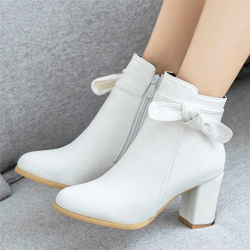 Bahar Sonbahar Yüksek Topuklu Kadın yarım çizmeler Kadın kısa çizmeler Yüksek Topuk Ayakkabı Artı Boyutu 33-40 41 42 43 44 45 46 47 48 49 50