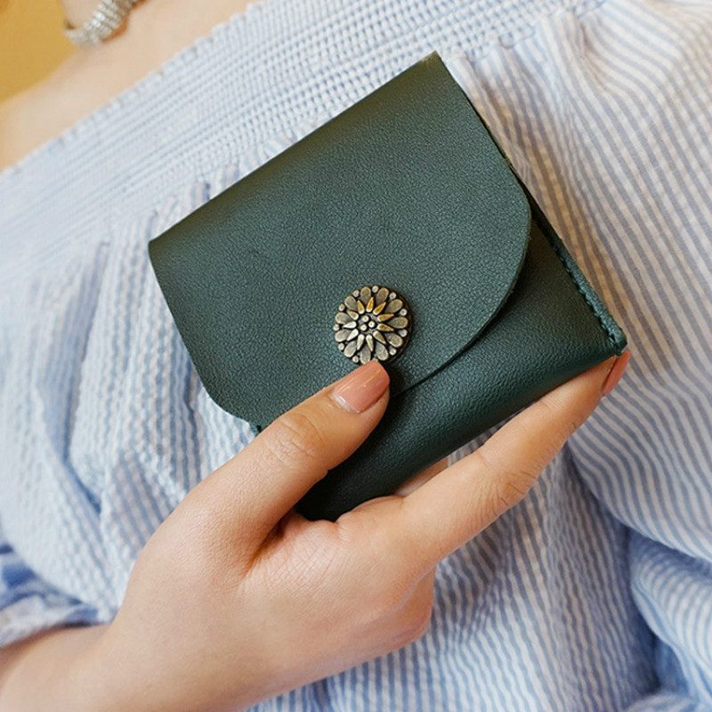 Slim Mini Wallet Female 2018 New Lady Short Solid Women Wallets Money Bag Hasp PU Leather Small Coin Purse Card Hold Girl Gift