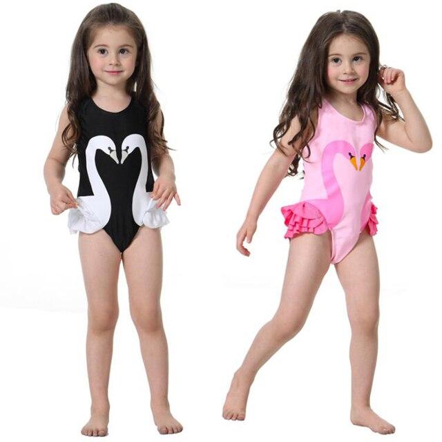 2d4e777c03e39 New Pink Bathing Girls Bikinis One Piece Swimsuits Baby Swimwear children  swimming suit Monokini Swan Flamingos Cartoon Top