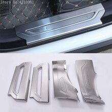 Для Jaguar F-Pace f pace X761 нержавеющая Добро пожаловать порог порога порог защитная пластина отделка с логотипом автомобиля аксессуары 4 шт.