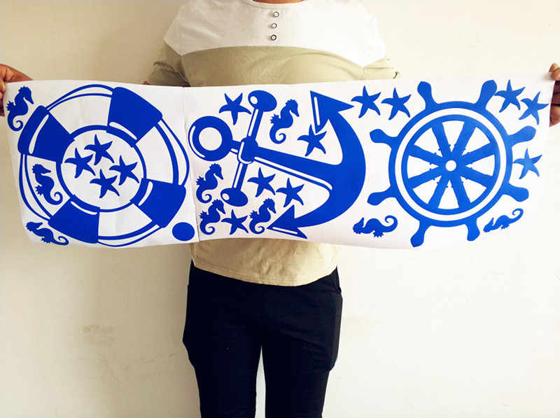 big size anchor steering wheel nautical Wall Sticker vinyl Decal kids room decoration dropping ship