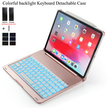Untuk iPad Pro 11 Inci Colorful Backlight Wireless Bluetooth Keyboard Case Cover untuk iPad Pro 11 Inci Aluminium Alloy Fundas(China)