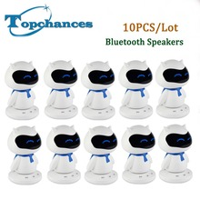 10PCS Mini Portable cute Robot Smart Blueototh Speaker With Music Calls Handsfree TF MP3 AUX Function for All Bluetooth Devices