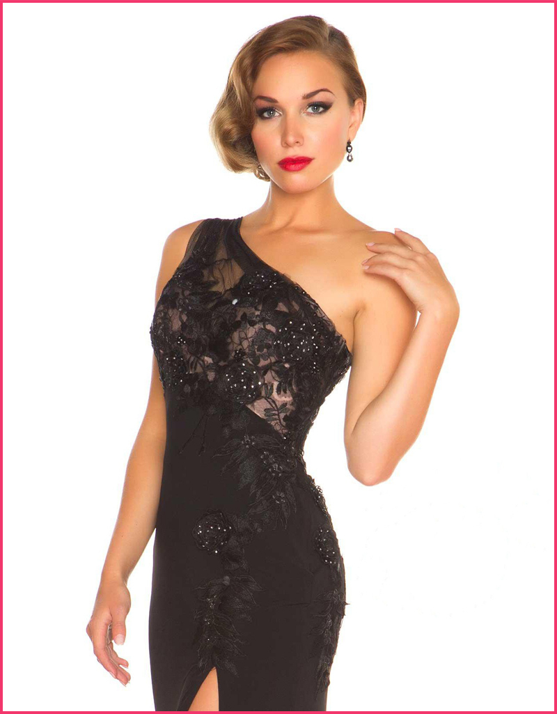 Custom Made Vestidos de Noite Sexy Side Slit Lace Formal font b Dress b font One