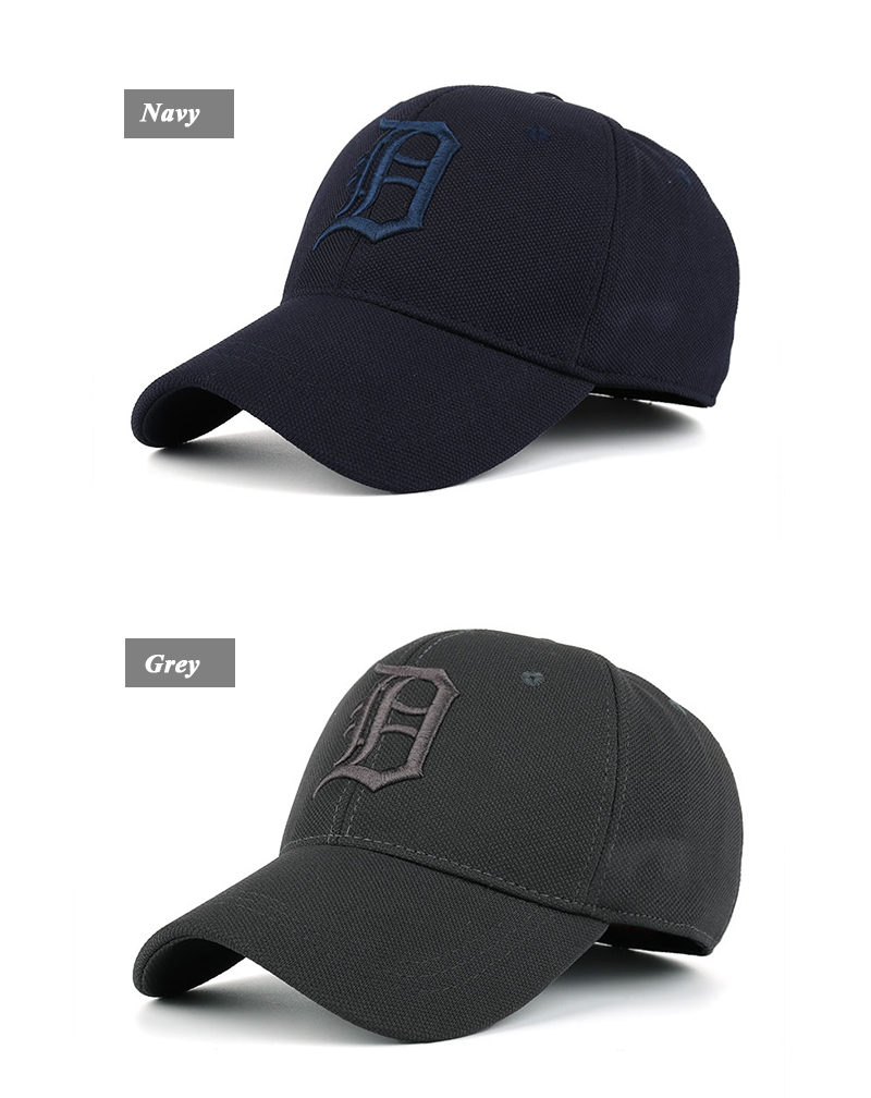 Embroidered Letter D and Baseball Fitted Baseball Cap - Navy Cap and Grey Cap Front Angle Views