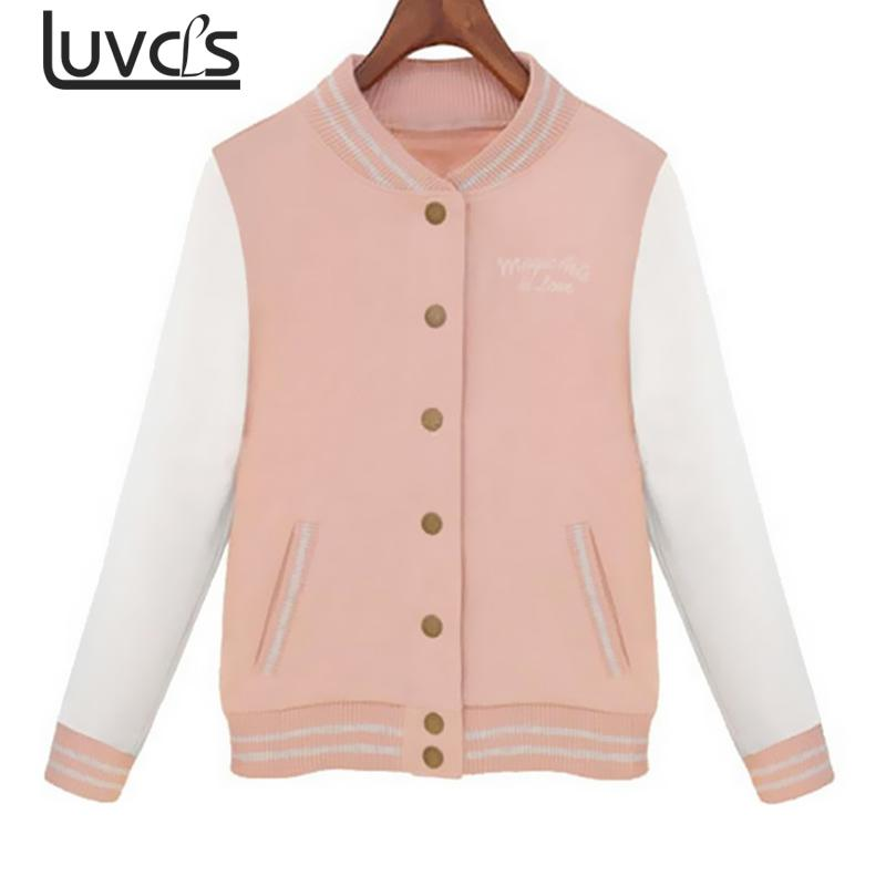 LUVCLS Splice Sleeves Baseball Jacket 2018 Spring Autumn College Jackets Harajuku Style Women Bomber Jacket Casacos Femininos ...