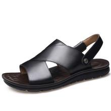 Outdoor Genuine Leather Sandals Men Summer Black Beach Sandals 2019 New Fashion Flat  Anti-Slippery Sport Sandals for Men black fashion jewelry embellished flat sandals