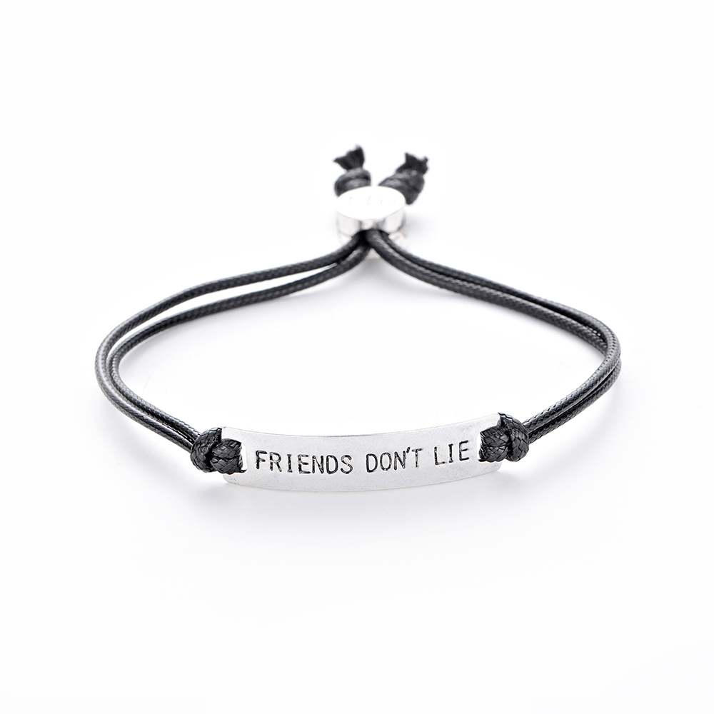 Friend don't Lie Eleven Charm Bracelet Handstamped Letter Men Bar Bangle Chain Bracelet for Women Stranger Things Movie Jewelry