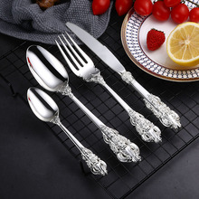 24 шт. роскошные серебряные столовые приборы набор столовых приборов посуда столовые приборы для ужина вилы ножи Прямая доставка