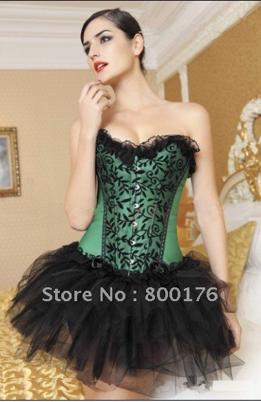 free shipping hongkong post Lace Overlay Boned Corset Bustier top with tutu dress 812-7018 S-2XL