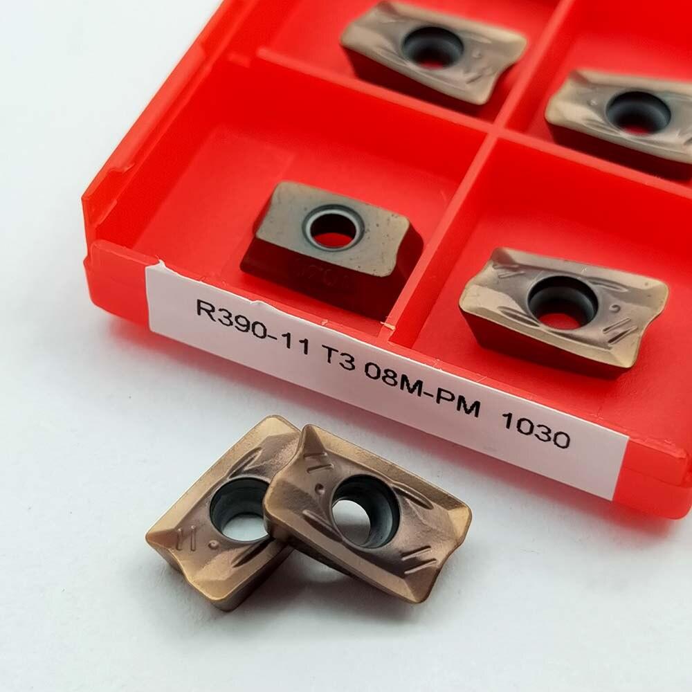 10PCS R390-11T308M-PM 1030 carbide milling insert R390-11T308M Milling blade cnc machine tools lathe