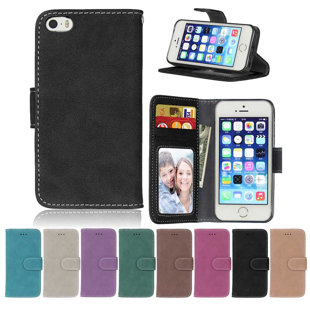 Leather Phone Cases sFor Coque iPhone 5 5S SE i5 Shell With Card Slot Retro Flip Wallet phone bag for Apple iPhone5 5 S S E 4.0
