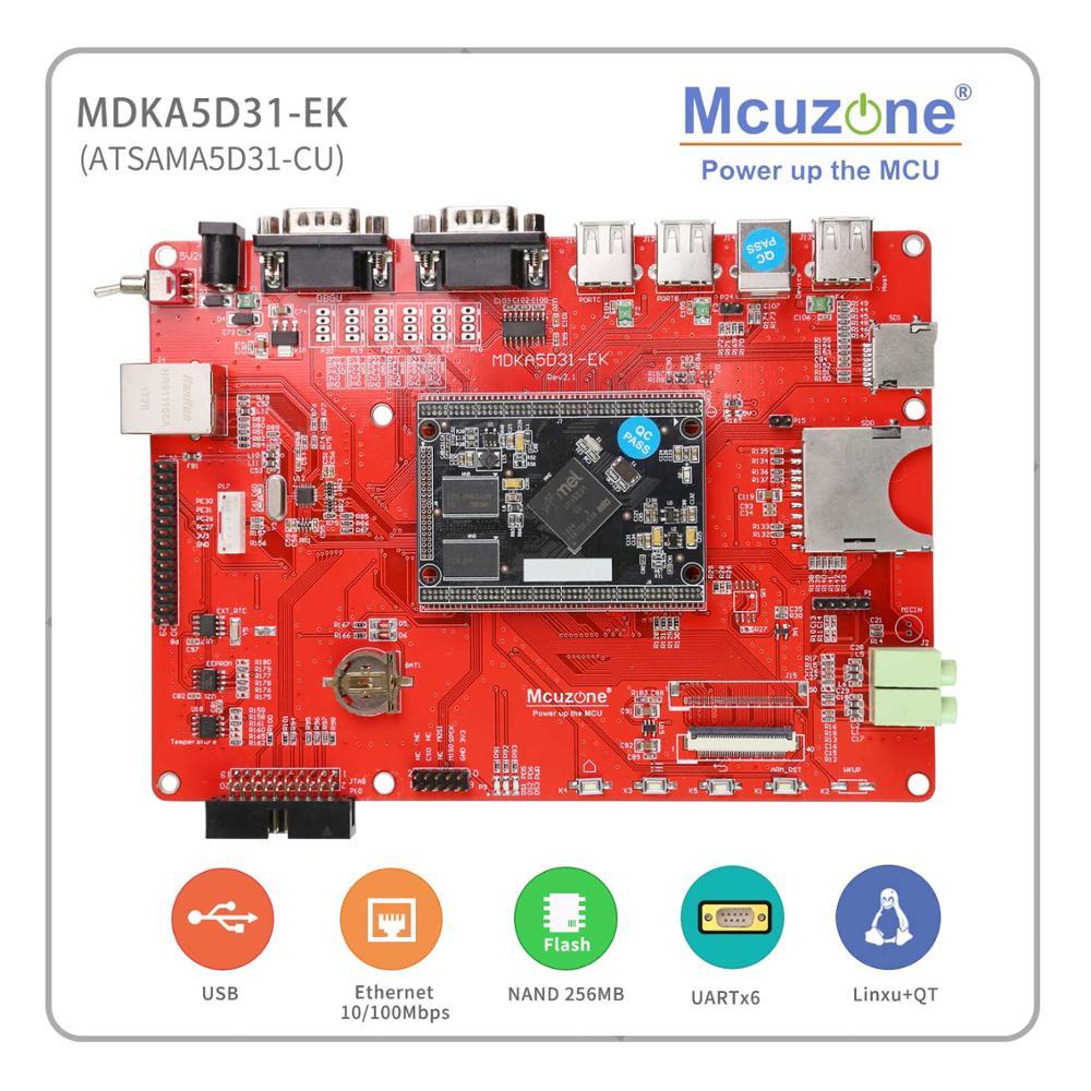 ATSAMA5D 31 MDKA5D31-EK Development Kit, 536MHz Cortex-A5 Board, 256MB DDR2, NAND, HS USB, Ethernet, UART 5'LCD A5D31 SAMA5D3