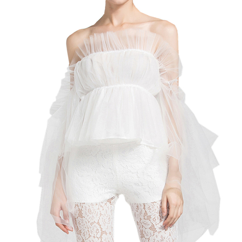 Fairy Cute Lolita Blouse Ladies Summer Flare Sleeve Ruffle Off The Shoulder Tops For Women Strapless Boho Mesh Blouse Tube Tops