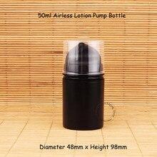 Promoção 10 pçs/lote Plástico 50 ml Garrafa Bomba Airless Loção Elmusion Preto Pequeno 5/3 OZ Ferramentas Mulheres Maquiagem Embalagem pote