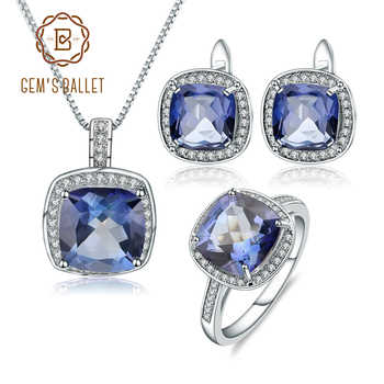 GEM'S BALLET 925 Sterling Silver Necklace Earrings Ring Set Natural Iolite Blue Mystic Quartz Jewelry Set For Women Fine Jewelry - DISCOUNT ITEM  45% OFF All Category
