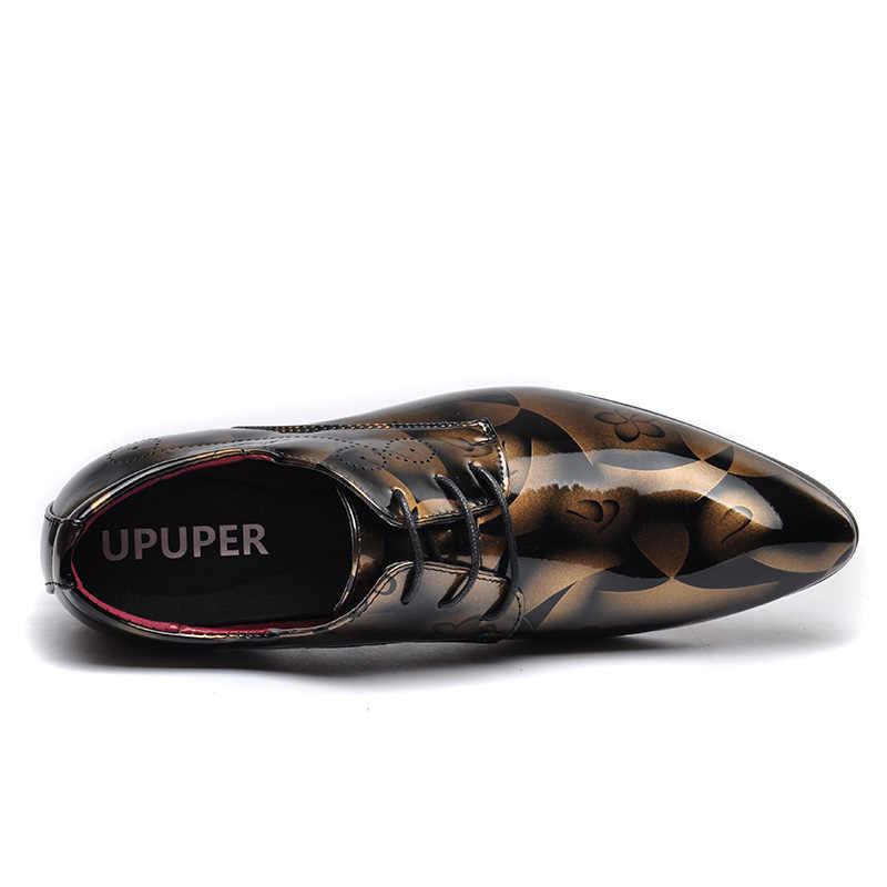 """UPUPER Мужские модельные туфли Лакированная кожа ботинки мужские """"Оксфорд""""; обувь в деловом стиле; острый носок; chaussures hommes en cuir большой Размеры: 37-50"""