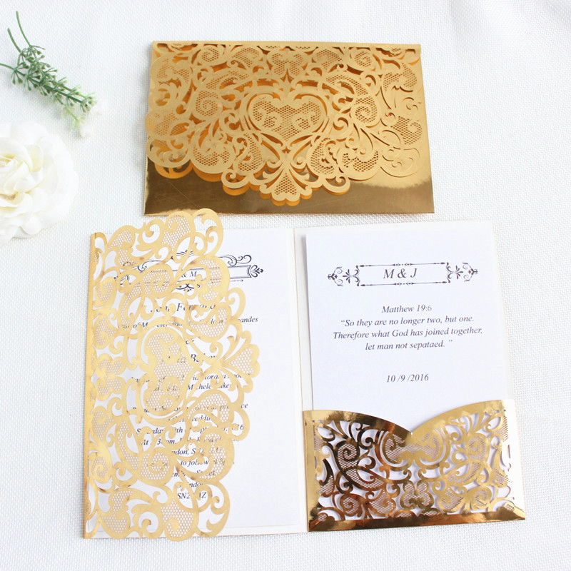 Us 39 0 Gold Laser Cut Wedding Invitations Light Reflecting Tri Folding Pocket Flower Customized Printing Birthday Invitation Card In Cards
