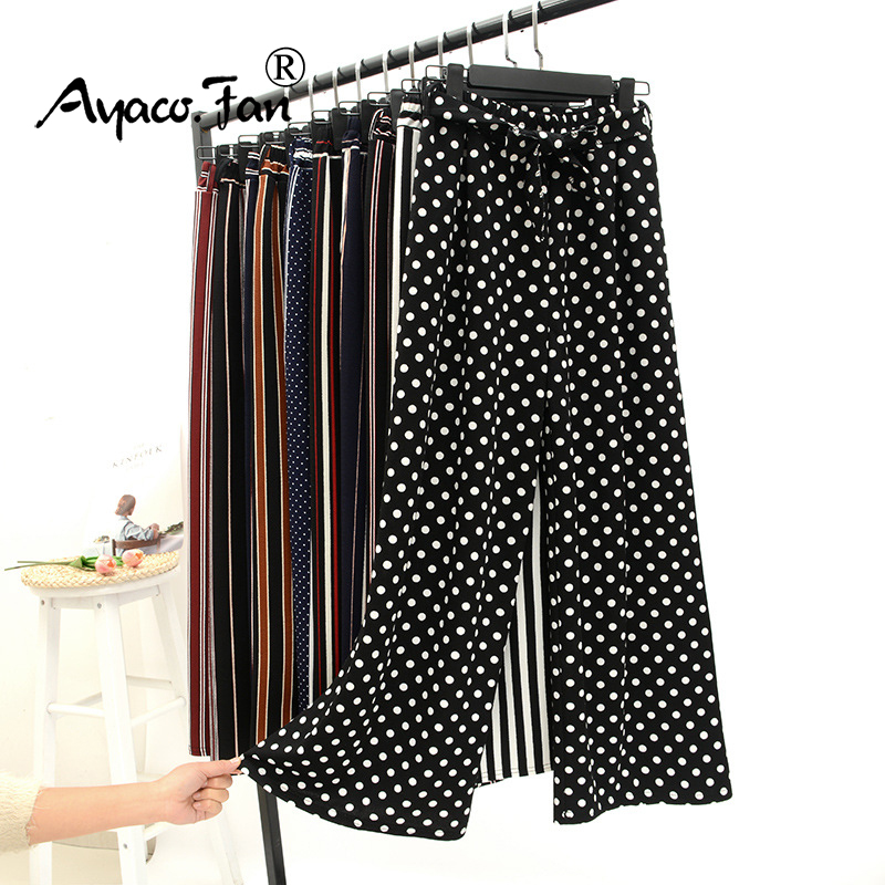 2019 Spring and Summer High Waist Loose   Wide     Leg     Pants   Striped Dots Straight Nine   Pants   Women Wild Casual   Pants   Lace-up Trousers