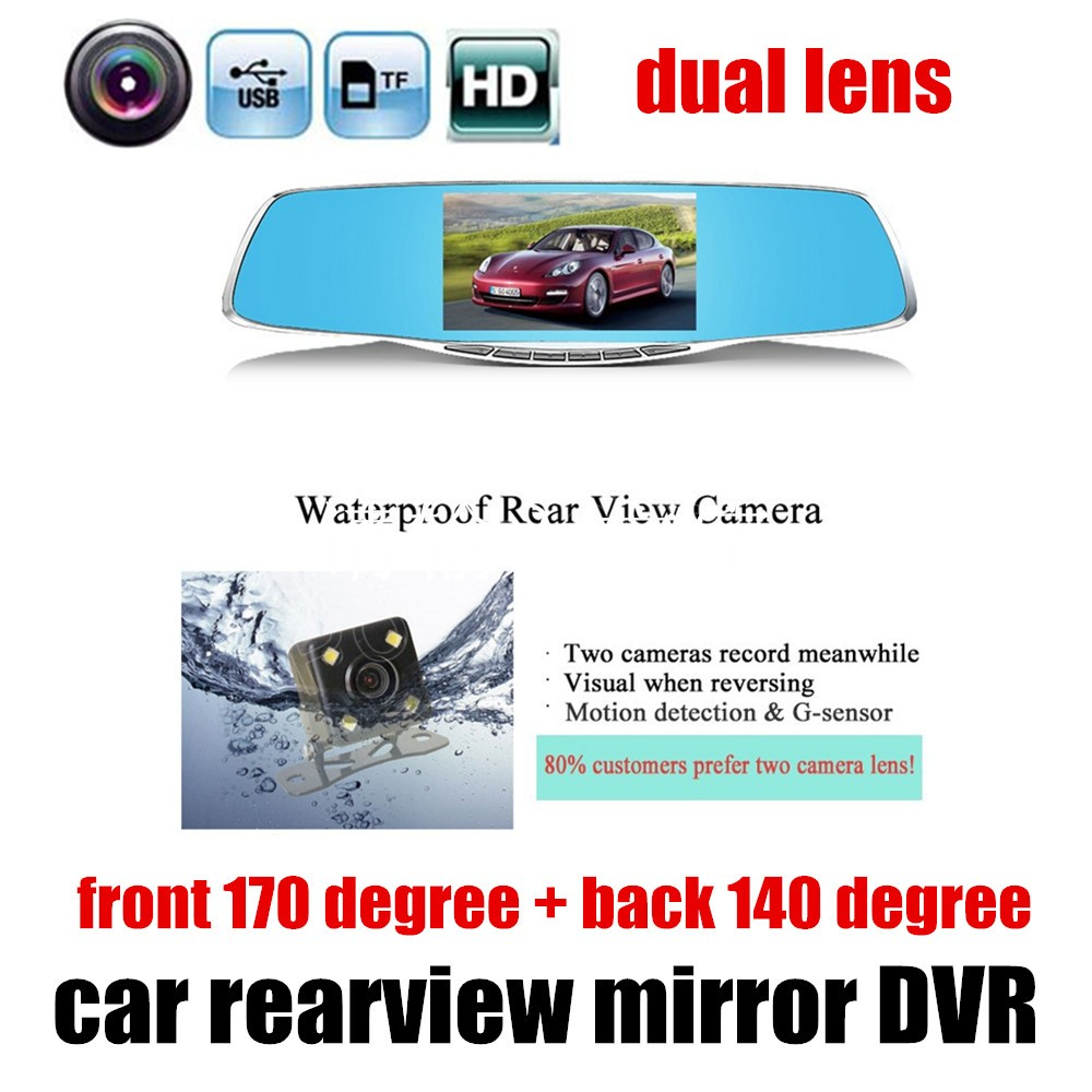 4.3 inch Rearview Mirror 1080P DVR With Dual lens Car DVR Camera HD night vision with Rearview camera best selling цена