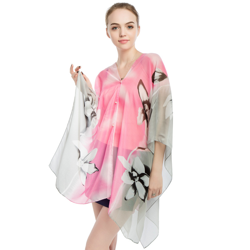 Women Scarf Shawl Poncho Printed Sunscreen Scarf Sun Protection Shawl Beach Shawl Bikini Cover Chiffon Comfortable Hot Sale