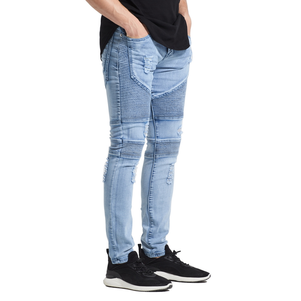 High Quality Men Elastic Skinny   Jeans   Wrinkle in Knee Hip Hop Pants Thigh Ankle Male Ripped Trousers Dropshipping