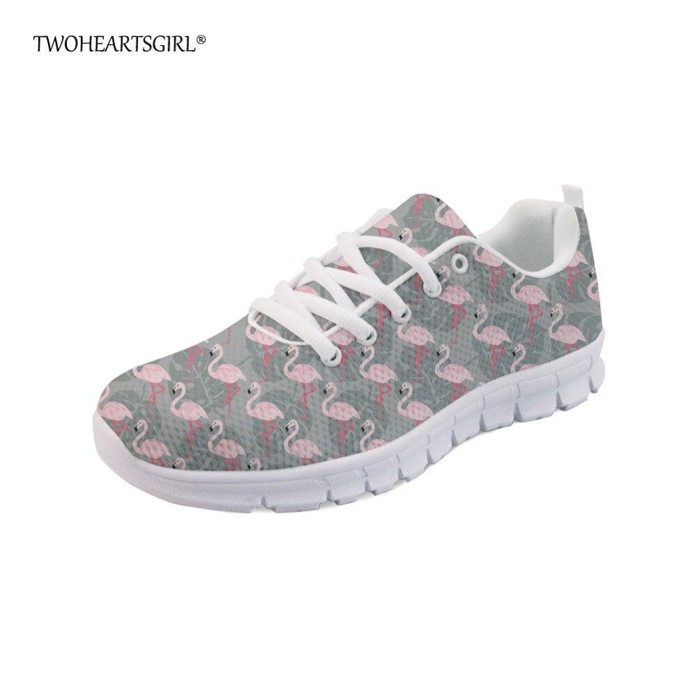 Plat Sneakers Maille Twoheartsgirl Custom Classique Marche Gris z2550aq Roses Appartements Lacent Chaussures Flamants Image Imprimé Respirant Femmes De Dames TJFcKl1