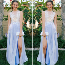 Charming See Through White Lace Applique Chiffon Prom font b Dresses b font Long Scalloped Slit
