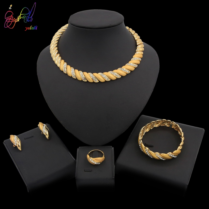 Yulaili Fashion 2019 Summer New Style Women African Jewelry Sets Simple Crystal Round Necklace Earrings Sets for Party DailyYulaili Fashion 2019 Summer New Style Women African Jewelry Sets Simple Crystal Round Necklace Earrings Sets for Party Daily