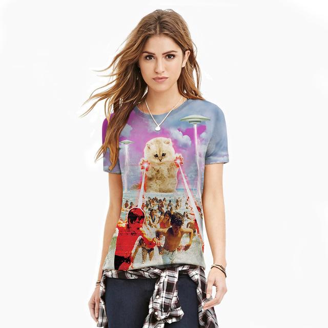 2016 Lindo Camisetas Más El Tamaño de Los Hombres de Moda/Mujer camiseta de Gato 3D HD Imprimir Tops Casuales de Manga Corta Cuello Redondo Verano Tees