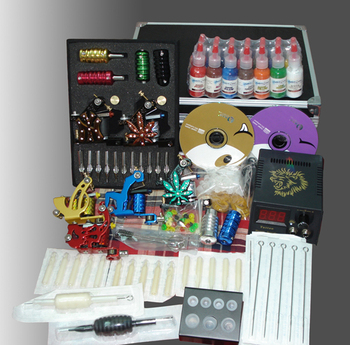 Tattoo starter set complete 4 top tattoo machine cosmetic permanent makeup gun kit with carry box