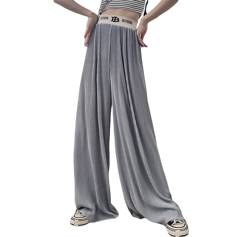 Elastic High Waist Women   Wide     Leg     Pants   Big Pocket Summer   Pants   For Women Pleated Female Trousers Plus Size Elegant   Pants   Woman