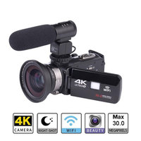2019 New Ultra HD 4K WiFi Digital Video Camera 3.0 Inch IPS Touch Screen 30MP 16X ZOOM + External Microphone + Wide Angle Lens