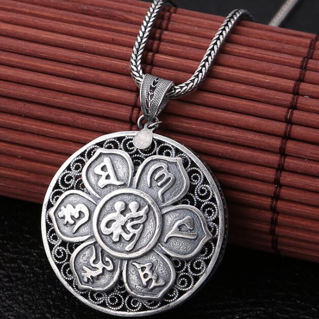 NEW 100% 925 Silver Tibetan Six Words Proverb Necklace Pure Silver Buddhist OM Mantra Pendant Necklace Tibetan Pendant Necklace new 925 silver tibetan medcine buddha thangka pendant necklace pure silver tibetan medicine buddha necklace pendant