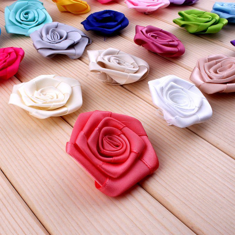 50 unids/lote 4 cm 20 colores mini cinta del satén Rose flores para ...