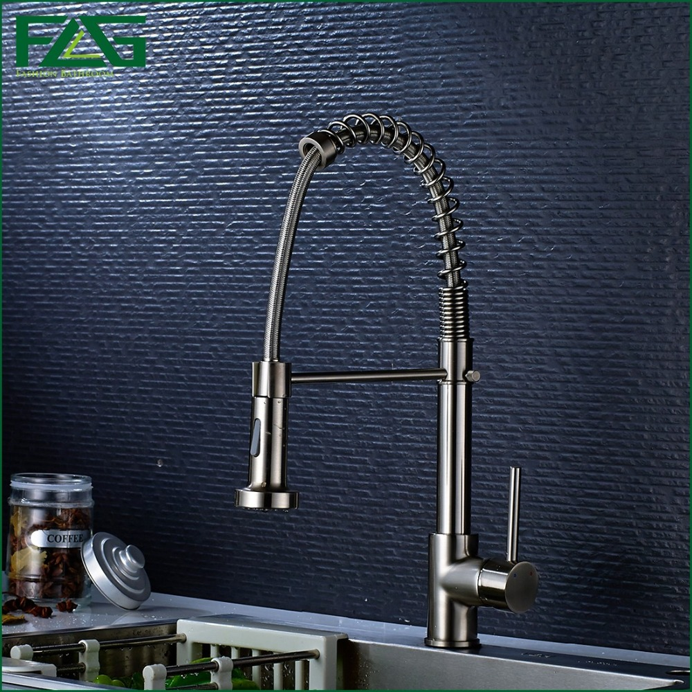 Spring Style Kitchen Faucet Pull Out Brushed Nickel All Around Rotate Swivel 2 Function Water Outlet
