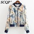 Fashion Floral Printed Bomber Jacket Women 2016 Summer Long Sleeve Stand Collar Beige Chiffon Jacket Zipper Pocket Womens Coats