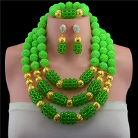 Splendid Green Crystal Statement Necklace Set Wedding African Beads Floral Jewelry Set for Women Free Shipping 10089