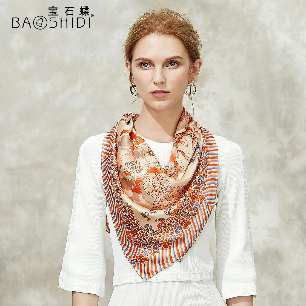 BAOSHIDI 2018 Autumn New Arrival 16m m 100 silk satin scarf Infinity Square Scarves women