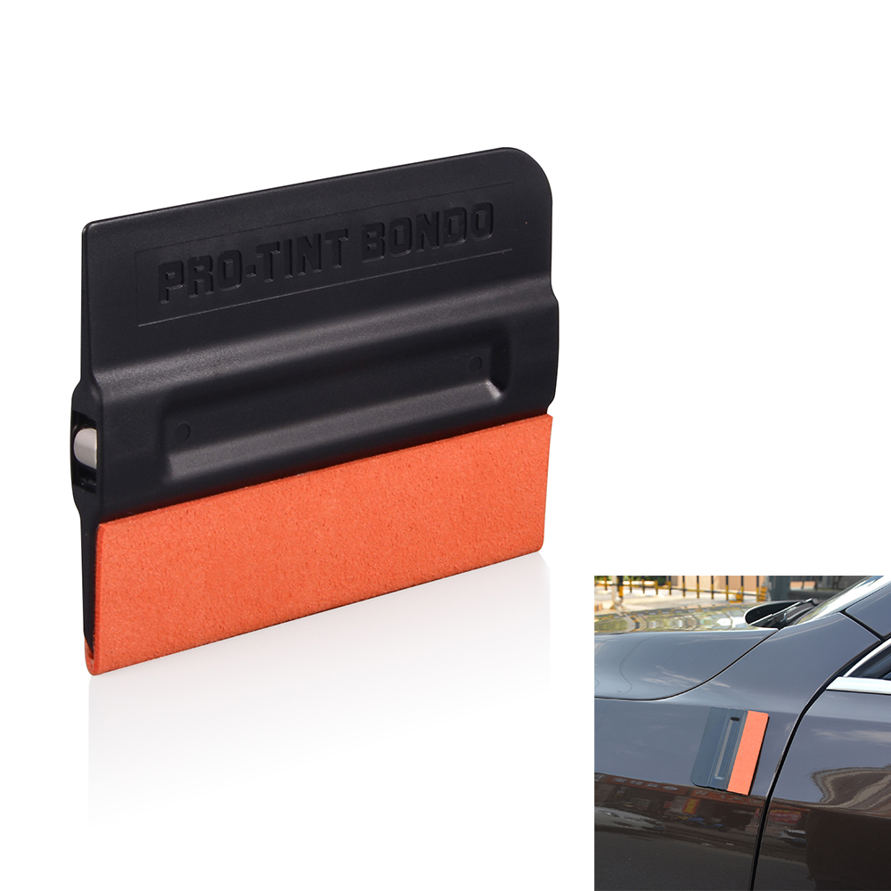 FOSHIO Carbon Fiber Film Magnetic Squeegee Vinyl Car Wrap Window Tint Magnet Scraper With Scratch-free Suede Felt Car Wrapping