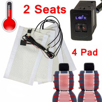 Hot Universal 12V Car Truck SUV Seat Heating Kit Carbon Fiber Heated Seat Heater Pads 5 Level Switch For 2 Seats JLD