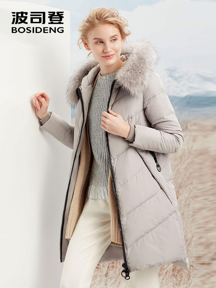 BOSIDENG women winter duck   down   jacket mid-long   down     coat   natural fur collar X style slim thicken outwear waterproof B70141134ML
