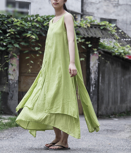 09cfa47f1f1 La Conception originale de Double Couche Élégant Femmes Coton Gilet Robe  Rétro Vintage Mori Fille D